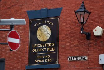LEICESTER, ENGLAND - JULY 04: A no entry sign hangs near the closed Globe pub during local lockdown on July 04, 2020 in Leicester, England. (Photo by Darren Staples/Getty Images)