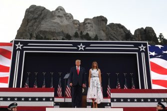 US President Donald Trump and First Lady Melania Trump attend Independence Day events at Mount Rushmore in Keystone, South Dakota, July 3, 2020. (Photo by SAUL LOEB / AFP) (Photo by SAUL LOEB/AFP via Getty Images)