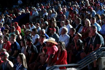Supporters listen to US President Donald Trump speak during the Independence Day events at Mount Rushmore National Memorial in Keystone, South Dakota, July 3, 2020. (Photo by SAUL LOEB / AFP) (Photo by SAUL LOEB/AFP via Getty Images)