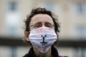 epa08526628 Civil Society organisations and extinction rebellion organise rally against 5G plans in Central Station in Brussels, Belgium, 04 July 2020.  EPA/Aris Oikonomou