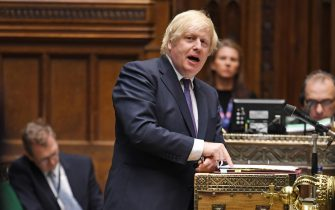A handout photo made available by the UK Parliament of Britain's Prime Minister Boris Johnson during the Prime Ministers Questions in the House of Commons Chamber in London, Britain, 01 July 2020.  ANSA/JESSICA TAYLOR / UK PARLIAMENT HANDOUT MANDATORY CREDIT: JESSICA TAYLOR/UK PARLIAMENT HANDOUT EDITORIAL USE ONLY/NO SALES