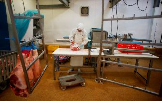 Meat is proceeded at the AIM (Abattoirs industriels de la Manche) slaughterhouse in Sainte-Cécile, northwestern France, on July 5, 2018, two days before their last day of work on July 7. - The 237 employees of the AIM Group slaughterhouse in Normandy, who were counting on a takeover of their company by five Breton breeders, saw July 4, 2018 their hopes shattered after the withdrawal at the last minute of the only offer of redemption. (Photo by CHARLY TRIBALLEAU / AFP)        (Photo credit should read CHARLY TRIBALLEAU/AFP via Getty Images)