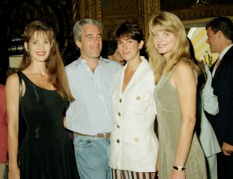 Deborah Blohm, Jeffrey Epstein, Ghislaine Maxwell and Gwendolyn Beck at a party at the Mar-a-Lago club, Palm Beach, Florida, 1995. (Photo by Davidoff Studios/Getty Images)