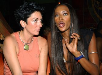 NEW YORK - SEPTEMBER 19:  (TABS OUT) Ghislaine Maxwell (L) and  Super Model Naomi Campbell (R) at the Rosa Cha Post-Show Celebration party hosted by Super Model Naomi Campbell and NC Connect at Man Ray on September 19, 2002 in New York City.  (Photo by Mark Mainz/Getty Images)