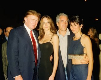 From left, American real estate developer Donald Trump and his girlfriend (and future wife), former model Melania Knauss, financier (and future convicted sex offender) Jeffrey Epstein, and British socialite Ghislaine Maxwell pose together at the Mar-a-Lago club, Palm Beach, Florida, February 12, 2000. (Photo by Davidoff Studios/Getty Images)