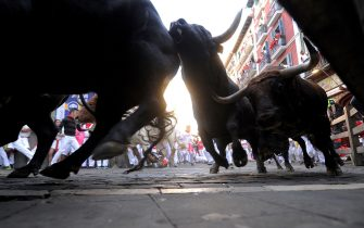 """Victoriano del Rio's fighting bulls turn the Mercaderes-Estafeta curve during the sixth bull run of the San Fermin festival in Pamplona, northern Spain on July 12, 2017.Each day at 8:00 am hundreds of people race with six bulls, charging along a winding, 848.6-metre (more than half a mile) course through narrow streets to the city's bull ring, where the animals are killed in a bullfight or corrida, during this festival, immortalised in Ernest Hemingway's 1926 novel """"The Sun Also Rises"""" and dating back to medieval times and also featuring religious processions, folk dancing, concerts and round-the-clock drinking.   / AFP PHOTO / ANDER GILLENEA        (Photo credit should read ANDER GILLENEA/AFP via Getty Images)"""