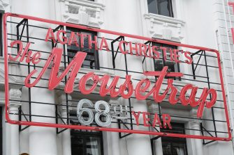 epa08530577 A sign for the play 'The Mousetrap' in the West End of London, Britain, 06 July 2020. Britain's government has announced a 1.57bn pounds emergency support package to help protect the futures of theatres, galleries and museum across the country. Many arts institutions are facing financial difficulty due to the ongoing coronavirus pandemic.  EPA/NEIL HALL