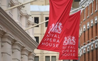 epa08530576 Flags on the Royal Opera House in the West End of London, Britain, 06 July 2020. Britain's government has announced a 1.57bn pounds emergency support package to help protect the futures of theatres, galleries and museum across the country. Many arts institutions are facing financial difficulty due to the ongoing coronavirus pandemic.  EPA/NEIL HALL