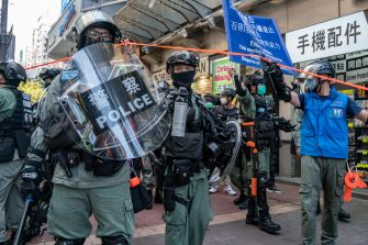 HONG KONG, CHINA - JUNE 28: Riot police setup cordon during a protest against the national security law on June 28, 2020 in Hong Kong, China. (Photo by Anthony Kwan/Getty Images)