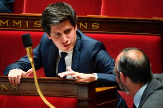 French Junior Minister for Cities and Housing Julien Denormandie talks with the Prime minister during a session of questions to the Government at the French National Assembly in Paris on June 9, 2020. (Photo by Bertrand GUAY / AFP) (Photo by BERTRAND GUAY/AFP via Getty Images)