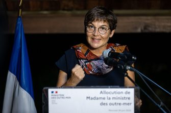 French Overseas Minister Annick Girardin speaks following a working visit on the management of the novel coronavirus, COVID 19 crisis in  Cayenne on June 24, 2020 (Photo by jody amiet / AFP) (Photo by JODY AMIET/AFP via Getty Images)