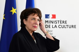 Newly appointed French minister of Culture Roselyne Bachelot reacts during the handover ceremony at the French Culture ministry in Paris on July 6, 2020 following the French cabinet reshuffle. (Photo by Alain JOCARD / AFP) (Photo by ALAIN JOCARD/AFP via Getty Images)