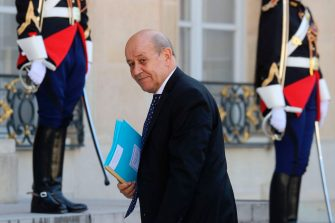 French Foreign Affairs Minister Jean-Yves Le Drian arrives at the Elysee Palace prior to the arrival of Tunisian President, in Paris, on June 22, 2020. (Photo by Ludovic MARIN / AFP) (Photo by LUDOVIC MARIN/AFP via Getty Images)