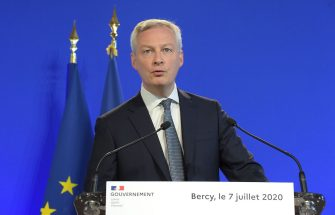 French Minister of the Economy and Finance Bruno Le Maire speaks during the handover ceremony at the Bercy French Economy and Finance Ministry in Paris on July 7, 2020 following the French cabinet reshuffle. (Photo by Eric PIERMONT / AFP) (Photo by ERIC PIERMONT/AFP via Getty Images)