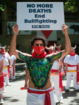 Pro-animal rights activists celebrate the cancellation of the San Fermin Festival's bullfights and bull-running during a demonstration called by the People for the Ethical Treatment of Animals (PETA) and Anima Naturalis pro-animal groups in Pamplona, on July 7, 2020. - The 2020 edition of the San Fermin Festival has been cancelled as part of preventive measures to fight the spread of the novel coronavirus. (Photo by ANDER GILLENEA / AFP) (Photo by ANDER GILLENEA/AFP via Getty Images)