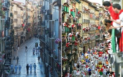 Pamplona, niente corsa dei tori: strade vuote e manifestazioni. FOTO