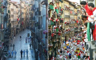 (COMBO) This combination of pictures created on July 7, 2020 shows (L) participants walking along Estafeta street during a symbolic celebration of the first bullrun of the San Fermin festival, on July 7, 2020 and a file photo taken on July 14, 2019, showing the same street during the celebration of the last bullrun of the 2019 San Fermin festival in Pamplona, northern Spain. - The 2020 edition of the San Fermin Festival has been cancelled as part of preventive measures to fight the spread of the novel coronavirus. (Photos by ANDER GILLENEA / AFP) (Photo by ANDER GILLENEA/AFP via Getty Images)