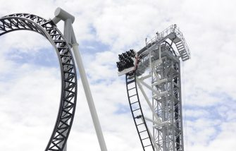 "Japan's amusement park Fuji-Q Highland unveils the world's steepest roller coaster ""Takabisha"" with a free falling angle of 121 degrees, at a press preview at Fujiyoshida city in Yamanashi prefecture on July 8, 2011. The  Takabisha stands 43m tall and is 1,000m in distance and will open at the park on the foothills of Mt. Fuji on July 16.   AFP PHOTO / Yoshikazu TSUNO (Photo credit should read YOSHIKAZU TSUNO/AFP via Getty Images)"