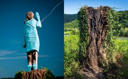 Slovenia, bruciata la statua di Melania Trump