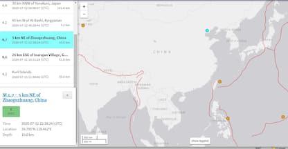 Terremoto in Cina, scossa di 4.7 a Tangshan