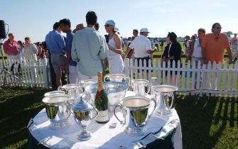 392284 07: People enjoy an afternoon at the Mercedes-Benz Polo Challenge July 21, 2001 in Bridgehampton, NY. The Hamptons, located at the east end of New York''s Long Island, is a traditional summer escape for New Yorkers. (Photo by Spencer Platt/Getty Images)