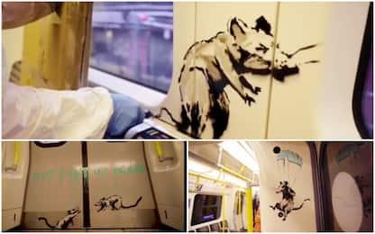 Banksy, nuova opera in metro a Londra: il video dell'artista in azione