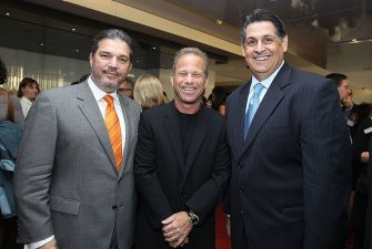 LOS ANGELES, CA - MAY 20:  Manuel Perez, Rick Feldman and Caeser Diaz at NATPE Event With GMX held at CAA on May 20, 2010 in Los Angeles, California.  (Photo by Alexandra Wyman/Getty Images for NATPE)