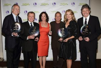 MIAMI BEACH, FL - JANUARY 25:  (L-R) Dick Ebersol, Regis Philbin, Lilly Tartikoff Karatz, Rick Feldman, Mary Hart and Gerhard Zeiler attend the 8th Annual NATPE Brandon Tartikoff Legacy Awards at Fontainebleau Miami Beach on January 25, 2011 in Miami Beach, Florida. (Photo by Alexander Tamargo/Getty Images)