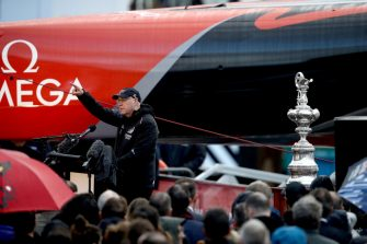 AUCKLAND, NEW ZEALAND - SEPTEMBER 06: Sir Stephen TIndall speaks alongside the Americas Cup yacht named Te Aihe, outside the Team New Zealand base during the official launch ceremony on September 06, 2019 in Auckland, New Zealand. It was the first AC75 launched by any of the five teams that will be involved in the 2021 Americas Cup in Auckland. (Photo by Phil Walter/Getty Images)