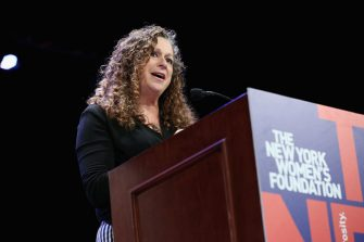 "NEW YORK, NY - MAY 10:  Honorary chair and co-founder of Level Forward, Abigail E. Disney speaks onstage during attends the New York Women's Foundation's 2018 ""Celebrating Women"" breakfast on May 10, 2018 in New York City.  (Photo by Monica Schipper/Getty Images for The New York Women's Foundation )"