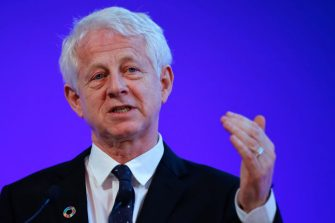 LONDON, ENGLAND - FEBRUARY 27: Richard Curtis speaks at an event to launch the private finance agenda for the 2020 United Nations Climate Change Conference (COP26) at Guildhall on February 27, 2020 in London, England. The 2020 United Nations Climate Change Conference (COP26) will be hosted in Glasgow from November 9 - November 19, 2020 under the presidency of the UK. (Photo by Tolga Akmen-WPA Pool/Getty Images)