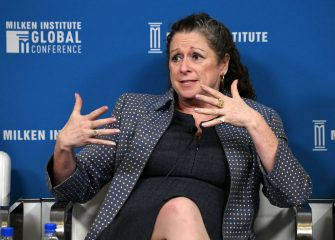 BEVERLY HILLS, CALIFORNIA - APRIL 29: Abigail Disney participates in a panel discussion during the annual Milken Institute Global Conference at The Beverly Hilton Hotel  on April 29, 2019 in Beverly Hills, California. (Photo by Michael Kovac/Getty Images)