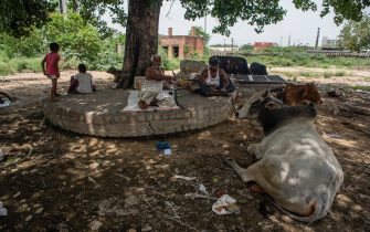 NEW DELHI, INDIA - JULY 14: Indians rest in scorching summer heat on July 14, 2020  in New Delhi, India.  With over 900,000 confirmed cases and 23,000 deaths, environmental and health experts have warned that India, which is currently the third worst COVID19-affected country, could face further challenges in tackling the impact of the global pandemic if immediate steps are not taken for the proper disposal of masks, gloves, personal protective equipment and other waste materials. (Photo by Yawar Nazir/Getty Images)