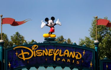 PARIS, FRANCE - JULY 13: The logo of Disneyland Paris is seen at the entrance of the park on July 13, 2020 in Marne-la-Vallee, near Paris, France. After four months of closure, the amusement park officially reopens its doors on Wednesday July 15 with compulsory reservations online. The Disneyland Paris and Walt Disney studio parks have been closed since mid-March due to the coronavirus epidemic (COVID 19). (Photo by Chesnot/Getty Images)