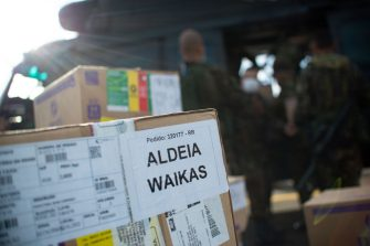 RORAIMA, BRAZIL - JUNE 30: View of shipment of drugs, rapid coronavirus tests (COVID-19) and medical supplies on the Armed Forces helicopter amidst the coronavirus (COVID-19) pandemic at the Base Aerea de Boa Vista on June 30, 2020 in Roraima. The health service is part of the Yanomami / Raposa Serra do Sol Mission, which seeks to intensify the fight against coronavirus among the indigenous population, in addition to other health care. Brazil has over 1,402,000 confirmed positive of Coronavirus cases, with 147 among Yanomamis, and 59,594 deaths across the country and 4 among Yanomamis. (Photo by Andressa Anholete / Getty Images)