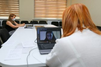 BAKU, AZERBAIJAN - JUNE 20: Professors and Teachers from Baku State University communicate with students during an online exam on June 20, 2020 in Baku, Azerbaijan. The coronavirus outbreak has infected more than 8.6 million people across the world. Azerbaijan has reported 11,767 cases of COVID-19 and 143 deaths. (Photo by Aziz Karimov/Getty Images)