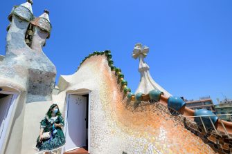 A woman visits Spanish architect Antonio Gaudi's Casa Batllo on July 1, 2020 in Barcelona, on the first day it reopens to the public after more than three months of closure amid the new coronavirus pandemic. (Photo by LLUIS GENE / AFP) (Photo by LLUIS GENE/AFP via Getty Images)