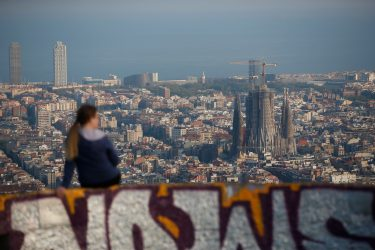 The Sagrada Familia is pictured in Barcelona on April 10, 2020, during a national lockdown to prevent the spread of the COVID-19 disease. - Spain has recorded its lowest daily death toll from the new coronavirus in 17 days, with 605 people dying, the government said. (Photo by Pau Barrena / AFP) (Photo by PAU BARRENA/AFP via Getty Images)