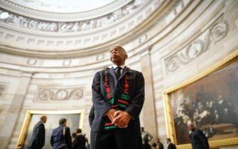 Rep. John Lewis, D-Ga., and other members of the Congressional Black Caucus as they wait to enter as a group to attend the memorial services for Rep. Elijah Cummings, D-Md., at the U.S. Capitol in Washington, Thursday, Oct. 24, 2019. (AP Photo/Pablo Martinez Monsivais, pool)