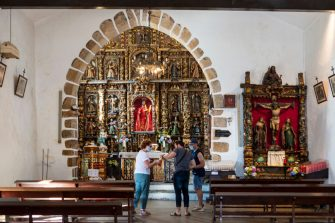 """CEDEIRA SPAIN - JULY 18: Pilgrims have to put on the mask to protect themselves from the Covid 19 pandemic virus.The chapel of San Andrés is a famous sanctuary where, according to the popular saying """" vai de morto quen non foi de vivo """" in the Galician language (who died was not alive),seen on July 18, 2020, Cedeira, Galicia, Spain. (Photo by Xurxo Lobato / Getty Images)"""