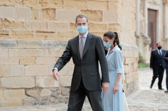 TARRAGONA, SPAIN - JULY 20: King Felipe of Spain and Queen Letizia of Spain are seen visiting the Royal Monastery of Santa Maria de Poblet on July 20, 2020 in Tarragona, Spain. This trip is part of a royal tour that will take King Felipe and Queen Letizia through several Spanish Autonomous Communities with the objective of supporting economic, social and cultural activity after the Coronavirus outbreak. (Photo by Xavi Torrent/Getty Images)