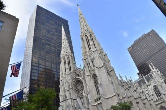 A picture shows the Saint-Patrick Cathedral, downtown Manhattan, on July 2, 2017 in New York City.    / AFP PHOTO / LOIC VENANCE        (Photo credit should read LOIC VENANCE/AFP via Getty Images)