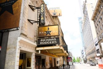 NEW YORK, NEW YORK - JULY 12: A view of the marquee at Hamilton: An American Musical at the Richard Rodgers Theatre as New York City moves into Phase 3 of re-opening following restrictions imposed to curb the coronavirus pandemic on July 12, 2020. Phase 3 permits the reopening of nail and tanning salons, tattoo parlors, spas and massages, dog runs and numerous other outdoor activities. Phase 3 is the third of four-phased stages designated by the state. (Photo by Noam Galai/Getty Images)