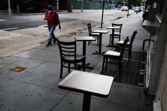 NEW YORK, NEW YORK - JUNE 30: Broadway theaters stand closed along an empty street in the theater district on June 30, 2020 in New York City. The Broadway League, a trade organization representing producers and theater owners, announced on Monday that performances in New York City will be suspended through the remainder of 2020 due to the coronavirus outbreak. Broadway shows are one of New York Cityâ  s largest tourist attractions brining in an estimated $1.75 billion in ticket sales last year alone.  (Photo by Spencer Platt/Getty Images)
