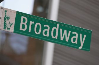 A Broadway sign is pictured on March 12, 2020 in New York City. - New York Governor Andrew Cuomo on March 12, 2020 banned public gatherings of more than 500 people, including shows in Manhattan's iconic Broadway theater district. Only schools, hospitals, nursing homes and mass transit facitilities are excepted from the rule -- which goes into effect for Broadway at 5:00 pm March 12, 2020, and 24 hours later everywhere else, Cuomo told journalists. (Photo by Angela Weiss / AFP) (Photo by ANGELA WEISS/AFP via Getty Images)