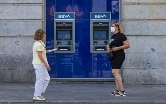 MADRID, SPAIN - JULY 20: A woman walks through Puerta del Sol without a mask on July 2, 2020 in Madrid, Spain. Together with the Canary Islands, the Community of Madrid is the only one where it is not yet mandatory to wear a mask. (Photo by David Benito/Getty Images)