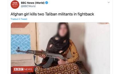 Ragazza afgana uccide due talebani, sua foto col fucile diventa virale