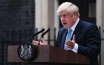 """LONDON, ENGLAND - SEPTEMBER 02: British Prime Minister Boris Johnson delivers a speech at 10 Downing Street on September 2, 2019 in London, England. Boris Johnson spoke to the public from Downing Street saying he hoped that MPs would vote with the government in not taking """"No Deal"""" off the Brexit negotiating table with the EU. He said we are leaving the EU on 31st October """"no ifs or buts"""". (Photo by Chris J Ratcliffe/Getty Images)"""