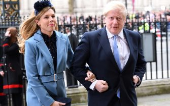 LONDON, ENGLAND - MARCH 09: Prime Minister of Great Britain Boris Johnson and Carrie Symonds attend the Commonwealth Day Service 2020 at Westminster Abbey on March 09, 2020 in London, England. (Photo by Karwai Tang/WireImage)