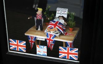 LEE-ON-THE-SOLENT, GOSPORT  - MAY 10: A home made display is seen in a shop front congratulating Prime Minister Boris Johnson and Carrie Symonds on the birth of their child at Lee-on-the-Solent Beach on May 10, 2020 in Gosport, England. The UK is continuing with quarantine measures intended to curb the spread of Covid-19, but as the infection rate is falling government officials are discussing the terms under which it would ease the lockdown. (Photo by Naomi Baker/Getty Images)